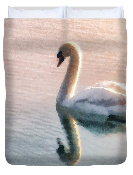 Swan on lake Duvet Cover by Pixel  Chimp