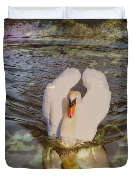 Swan Reflections Duvet Cover by Cheryl Young