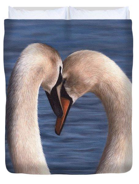 Swans Painting Duvet Cover by Rachel Stribbling