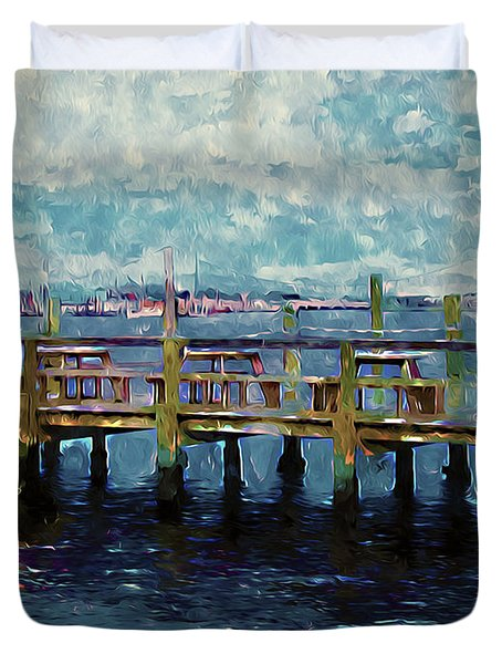 Swansboro Dock 1 Duvet Cover by Lanjee Chee