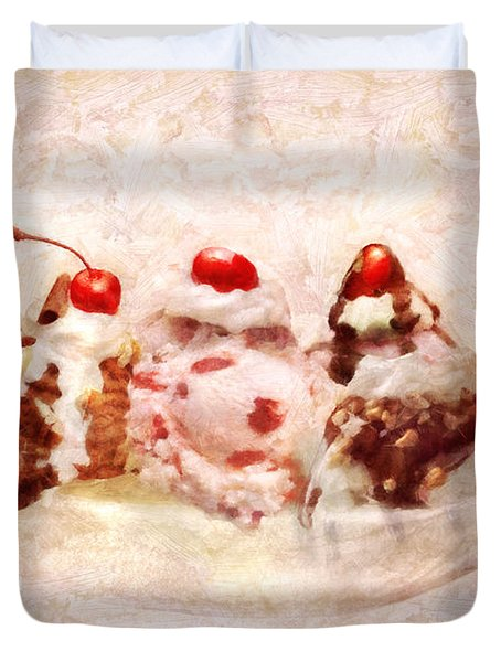 Sweet - Ice Cream - Banana split Duvet Cover by Mike Savad