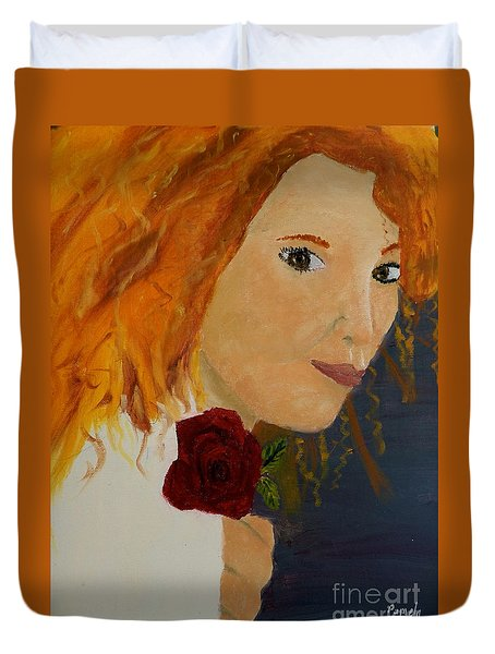 Sweet Lady Holding A Rose Duvet Cover by Pamela  Meredith