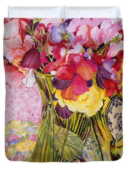 Sweet Peas With Cherries And Strawberries Duvet Cover by Joan Thewsey