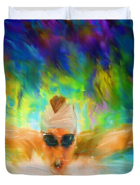Swimming Fast Duvet Cover by Lourry Legarde