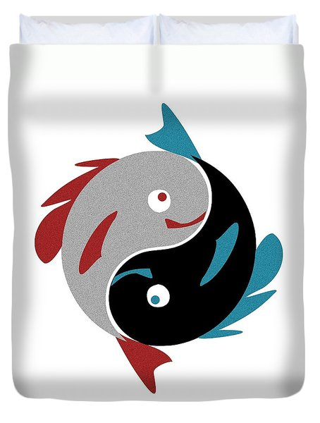 Swimming in Harmony Duvet Cover by Anastasiya Malakhova