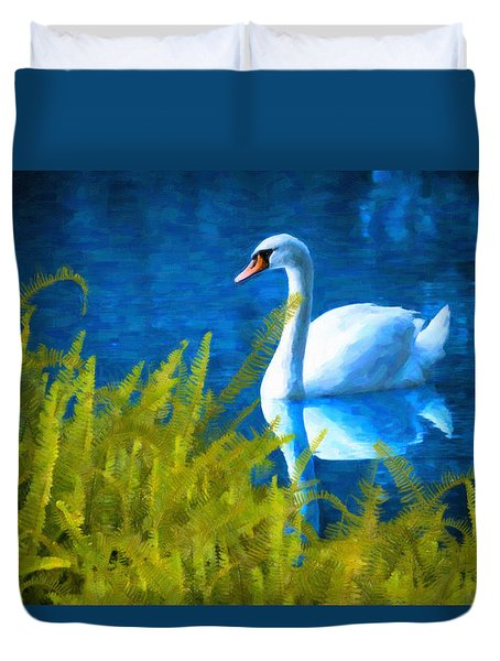 Swimming Swan And Ferns Duvet Cover by Kenny Francis