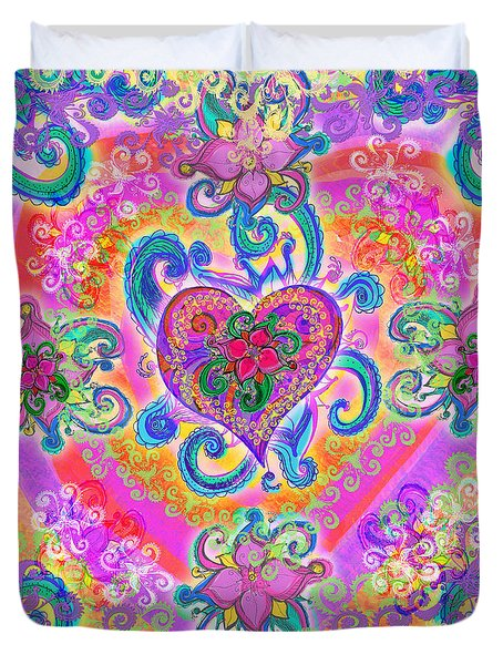 Swirley Heart Variant 1 Duvet Cover by Alixandra Mullins