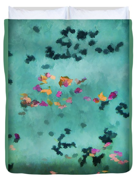 Swirling Leaves And Petals 1 Duvet Cover by Scott Campbell