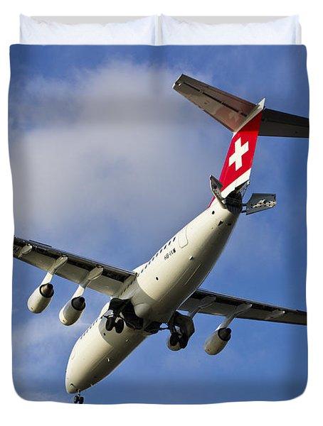 Swiss Air Bae146 Hb-ixw Duvet Cover by David Pyatt