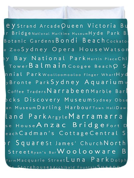 Sydney In Words Teal Duvet Cover by Sabine Jacobs
