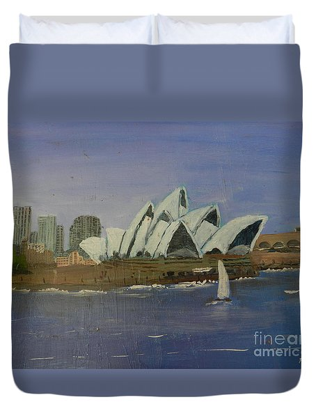 Sydney Opera House Duvet Cover by Pamela  Meredith