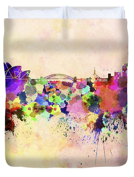 Sydney Skyline In Watercolor Background Duvet Cover by Pablo Romero