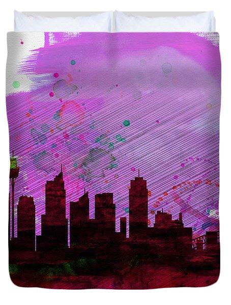 Sydney Watercolor Skyline 2 Duvet Cover by Naxart Studio