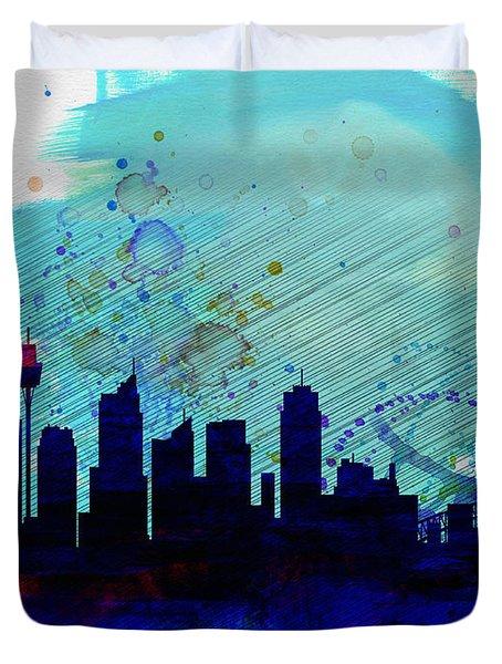 Sydney Watercolor Skyline Duvet Cover by Naxart Studio