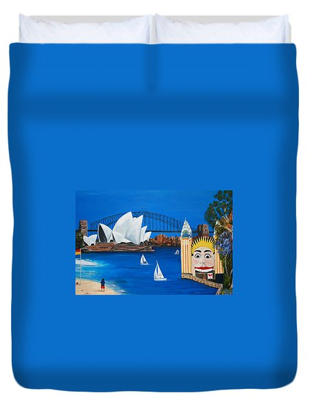 Sydneyscape - Featuring Luna Park  Duvet Cover by Lyndsey Hatchwell