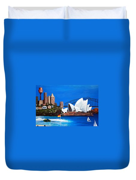 Sydneyscape - Featuring Opera House Duvet Cover by Lyndsey Hatchwell