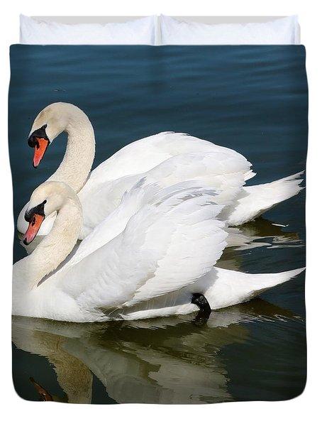 Synchronized Swans Duvet Cover by Carol Groenen