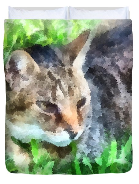 Tabby Cat Closeup Duvet Cover by Susan Savad