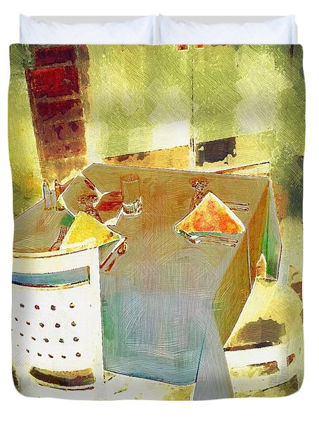 Table At The Fauve Cafe Duvet Cover by RC deWinter