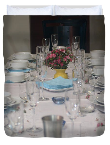 Table set for a Jewish Festive meal Duvet Cover by Ilan Rosen