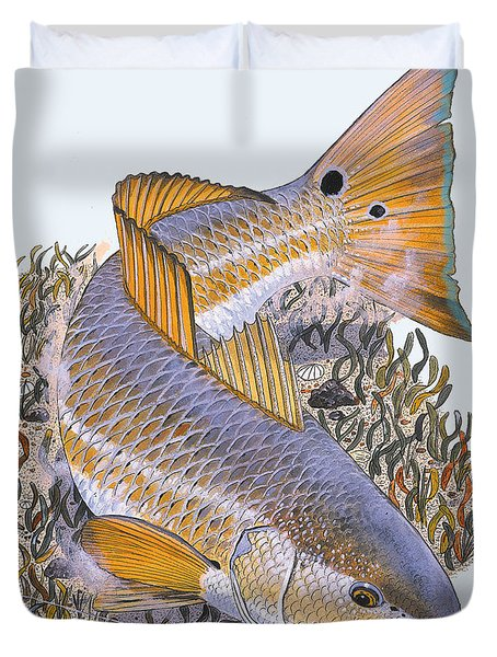Tailing Redfish Duvet Cover by Carey Chen