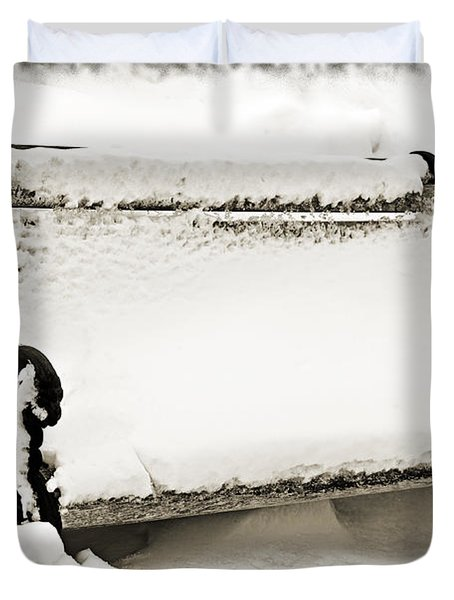 Take A Seat  And Chill Out - Park Bench - Winter - Snow Storm Bw 2 Duvet Cover by Andee Design