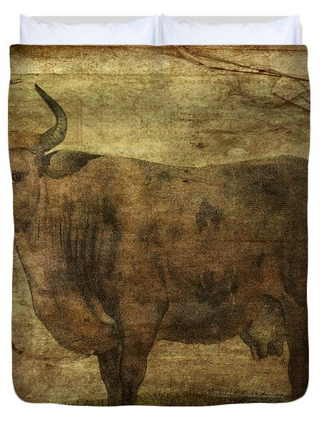 Take The Cow By The Horns Duvet Cover by Sarah Vernon
