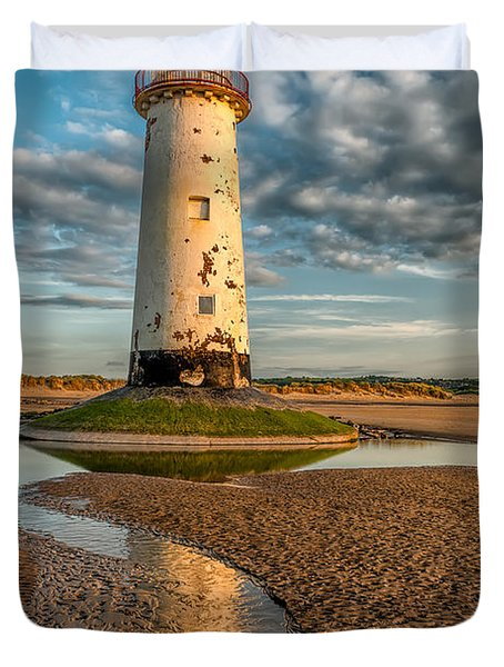 Talacre Lighthouse Sunset Duvet Cover by Adrian Evans