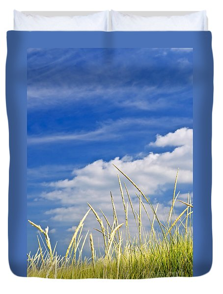 Tall grass on sand dunes Duvet Cover by Elena Elisseeva
