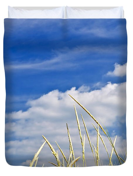 Tall grass on sand dunes Duvet Cover by Elena Elisseeva