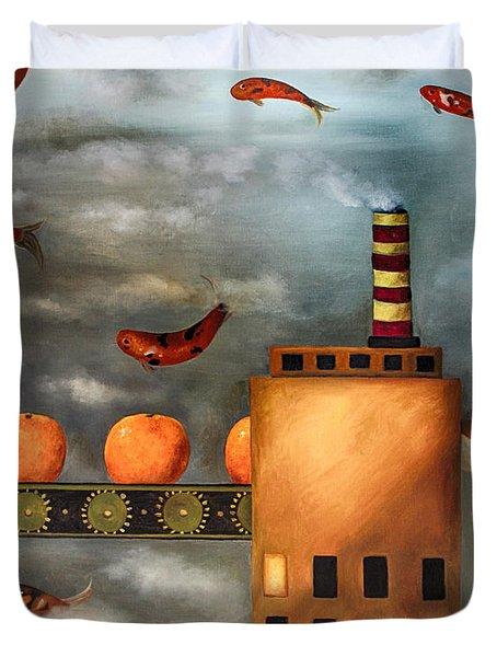 Tangerine Dream Edit 2 Duvet Cover by Leah Saulnier The Painting Maniac