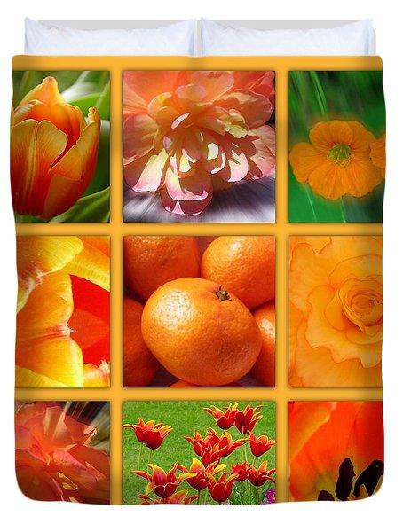 Tangerine Dream Window Duvet Cover by Joan-Violet Stretch