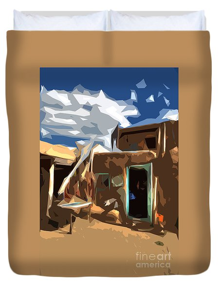 Taos Pueblo Abstract Duvet Cover by K D Graves