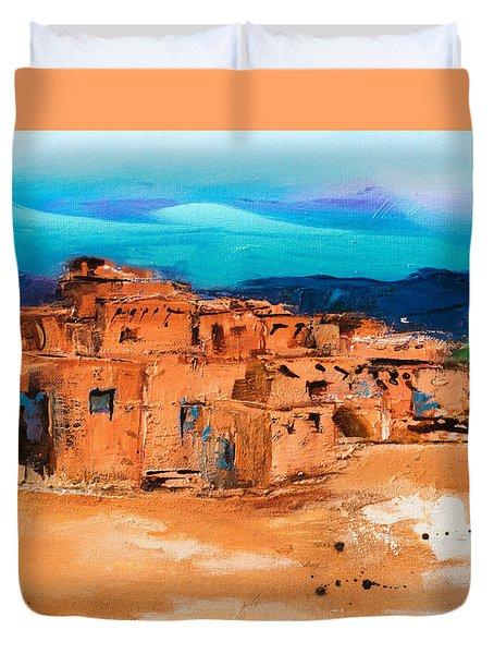 Taos Pueblo Village Duvet Cover by Elise Palmigiani