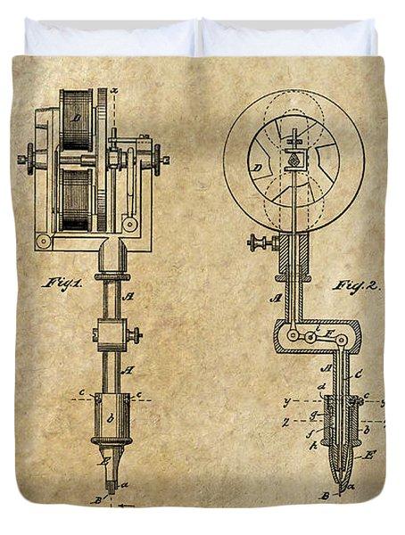 TATTOOING MACHINE 2 PATENT ART  1891 Duvet Cover by Daniel Hagerman