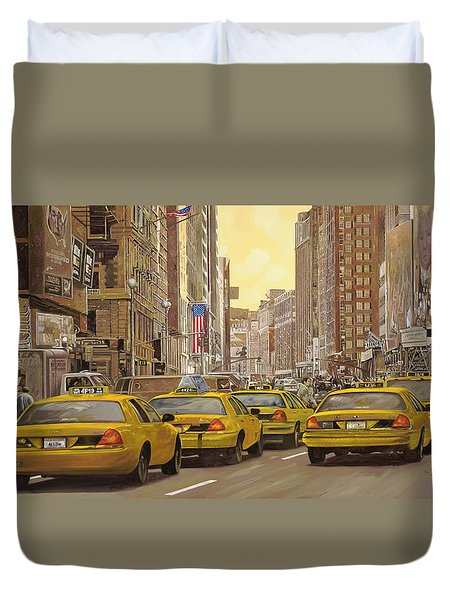 taxi a New York Duvet Cover by Guido Borelli
