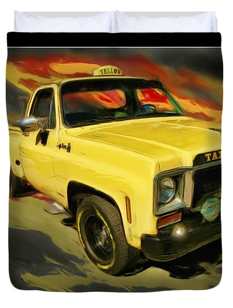 Taxicab Repair 1974 gmc Duvet Cover by Blake Richards