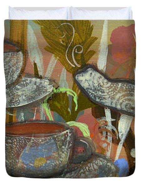 Tea For Three Duvet Cover by Robin Maria  Pedrero