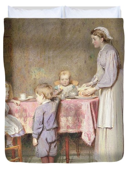 Tea Time Duvet Cover by George Goodwin Kilburne