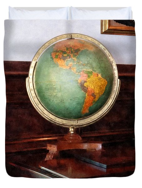 Teacher - Globe On Piano Duvet Cover by Susan Savad