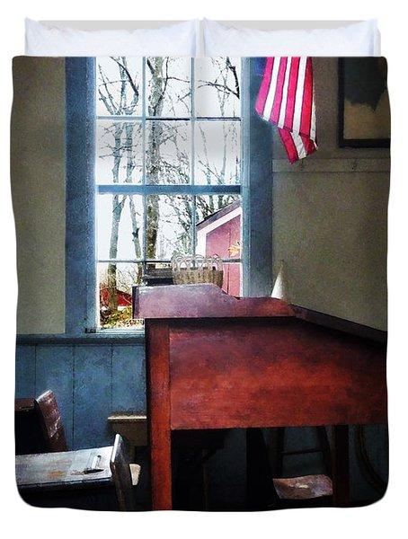 Teacher - Schoolmaster's Desk Duvet Cover by Susan Savad
