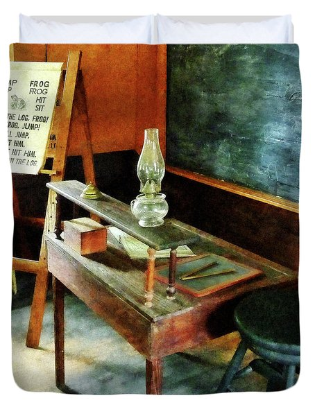 Teacher - Teacher's Desk With Hurricane Lamp Duvet Cover by Susan Savad