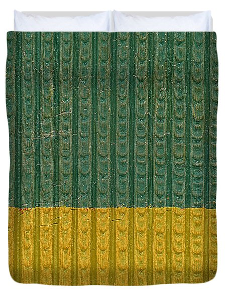 Teal And Mustard Duvet Cover by Michelle Calkins