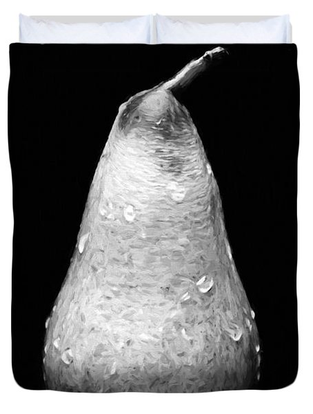Tears Of A Sad Pear In Silver Duvet Cover by Andee Design
