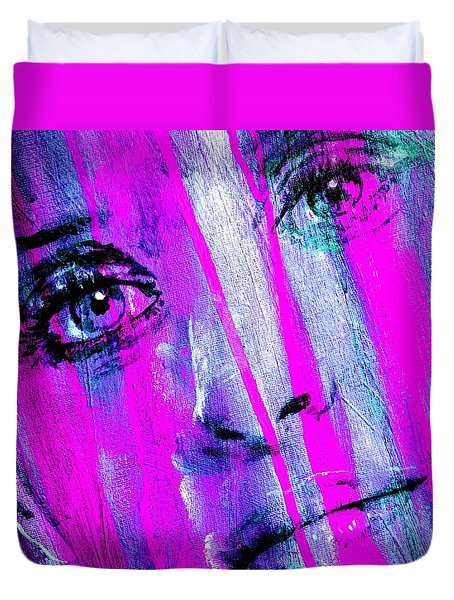 Tears - Purple Duvet Cover by Richard Tito