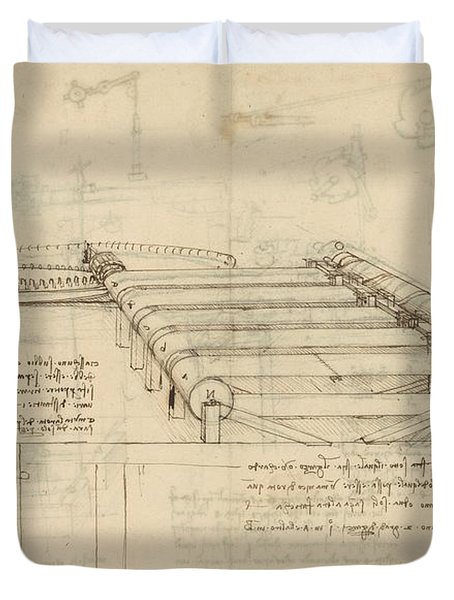 Teaselling Machine To Manufacture Plush Fabric From Atlantic Codex  Duvet Cover by Leonardo Da Vinci