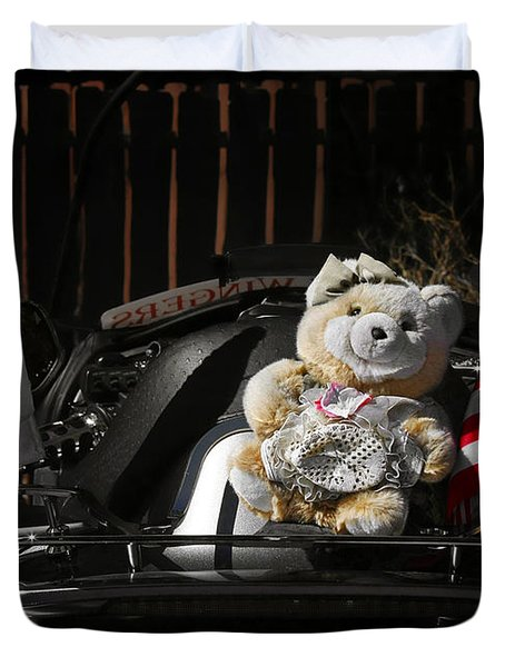 Teddy Bear Ridin' On Duvet Cover by Christine Till