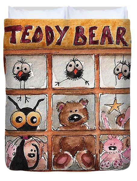 Teddy Bear Shop Duvet Cover by Lucia Stewart