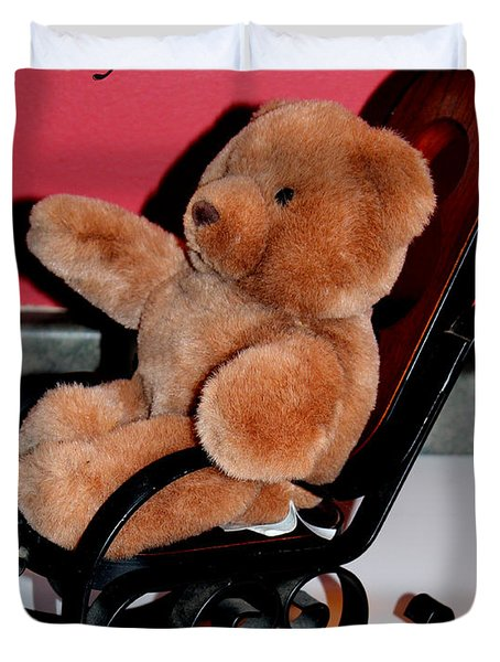 Teddy's Chair - Toy - Children Duvet Cover by Barbara Griffin