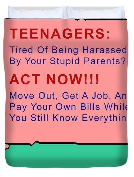 Teenagers Act Now Duvet Cover by Barbara Snyder